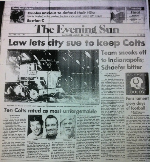 Front page of The Evening Sun March 29, 1984 with news about the Baltimore Colts moving to Indianapolis.
