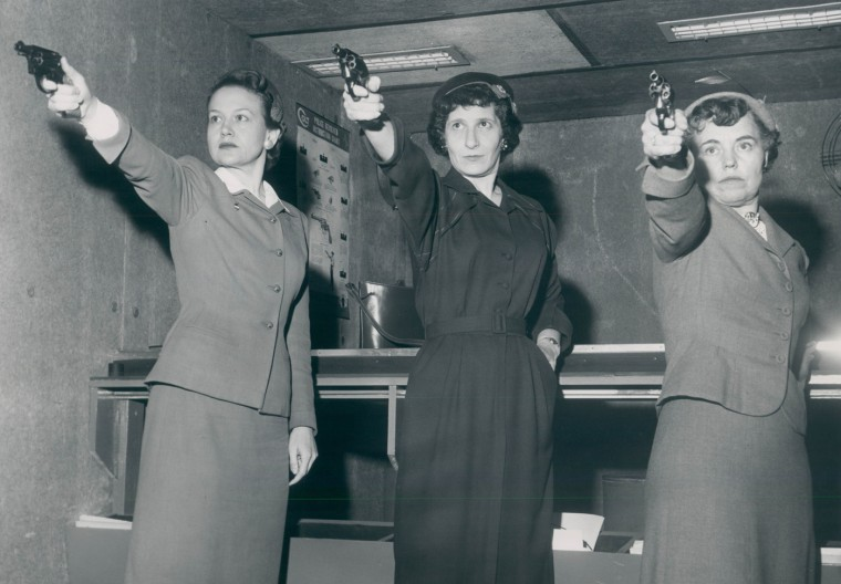 1956: Policewomen during a gun training session. (Ellis Malashuck/Baltimore Sun)