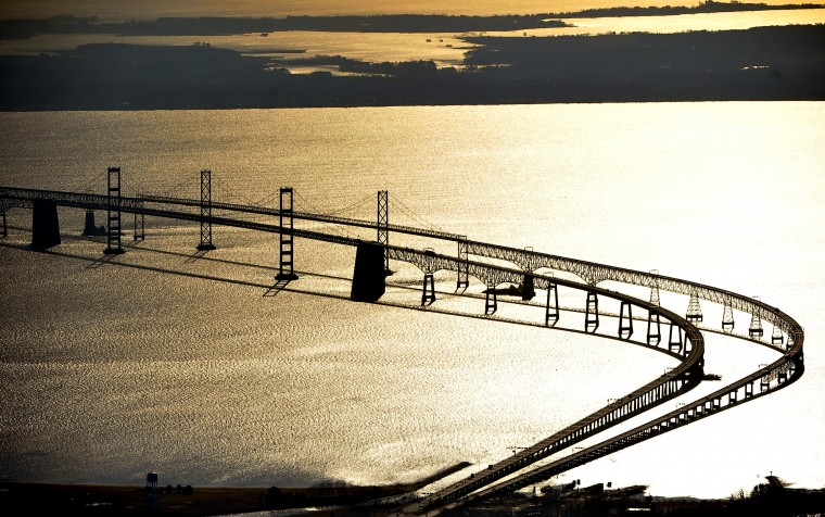 2012: An early morning aerial view of the Chesapeake Bay Bridge. (Kim Hairston/Baltimore Sun)