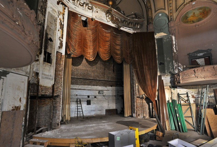 The remains of the stage and proscenium of the Parkway. (Amy Davis, Sun Photographer)