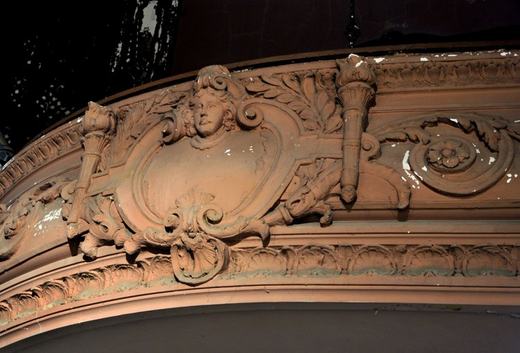Detail of ornate carved decorations on the exterior of the balcony. (Amy Davis, Sun Photographer)