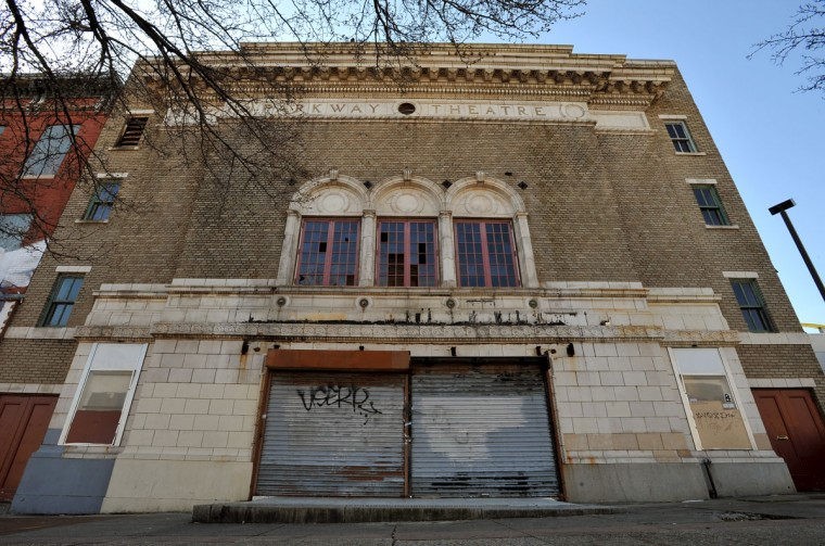 Exterior of the Parkway Theatre, with missing marquee and broken windows. (Amy Davis, Sun Photographer)