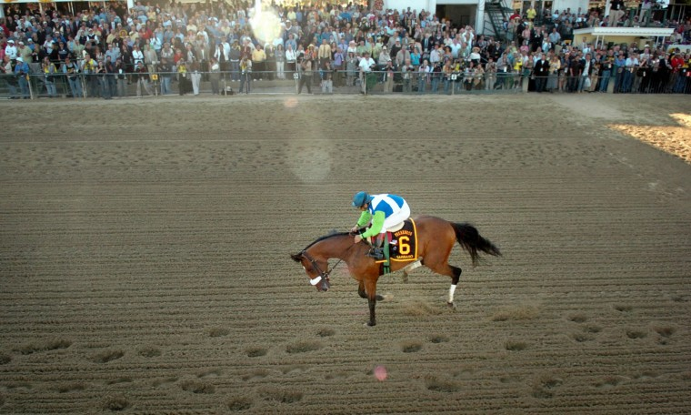 2006: Barbaro pulls up lame in front of the grandstand during the 131st running of the Preakness Stakes at Pimlico Race Course. (Doug Kapustin/Baltimore Sun)