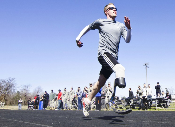Specialist Brynden Keller flies down the track during the final selection for the 2012 Warrior Games' Army team. (Noah Scialom, Independent Photographer)