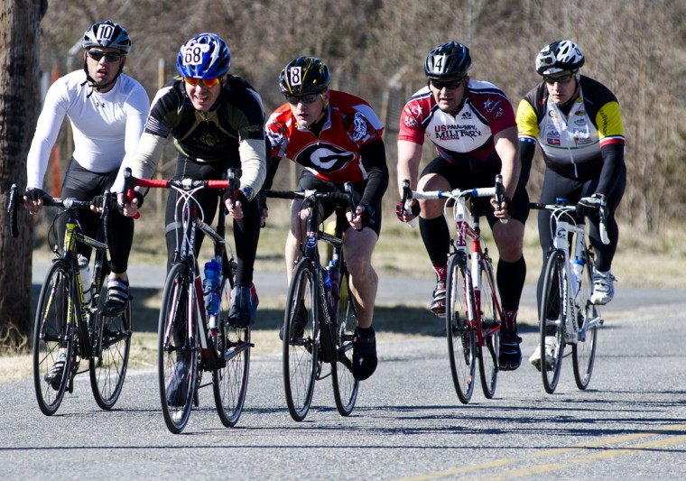 Cyclists pedal through the final selection for the 2012 Warrior Games' Army team at Ft. Meade (Noah Scialom, Independent Photographer)
