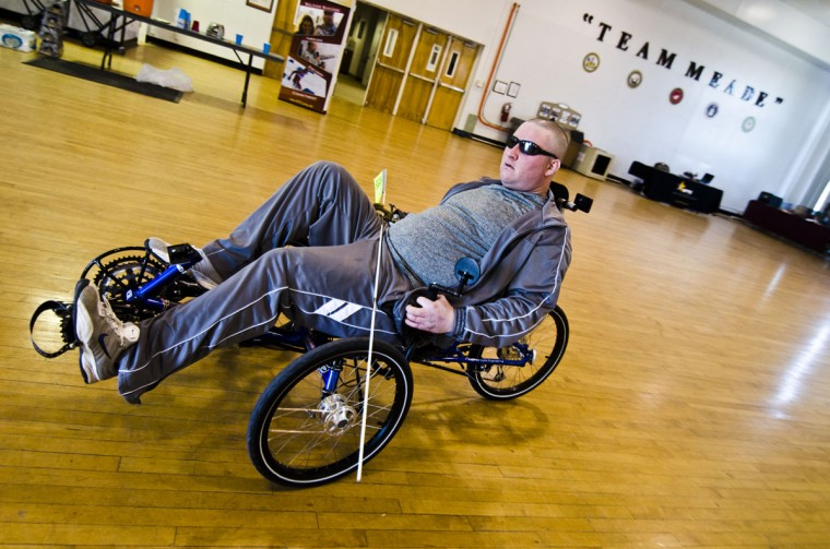 Sgt. Brian Bradley rode his recumbent bicycle for the second time ever on Sunday. (Noah Scialom, Independent Photographer)