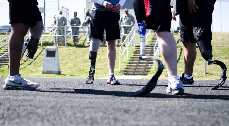Competing veterans met on the track at Mullins Field. (Noah Scialom, Independent Photographer)