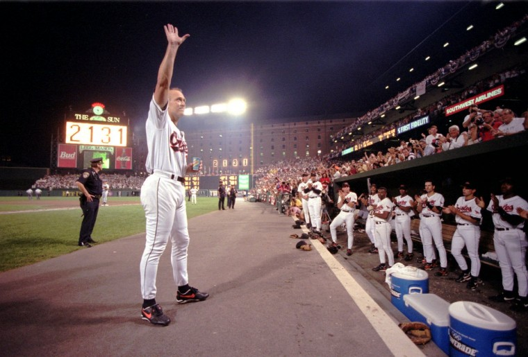 1995: Cal Ripken Jr. acknowledges the crowd after officially breaking Lou Gehrig's record. (Karl Merton Ferron/staff)
