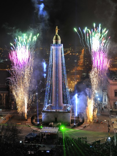 2010: The 39th annual lighting of the Washington Monument in Mount Vernon Square, from the Peabody Court Hotel. (Amy Davis/Baltimore Sun)