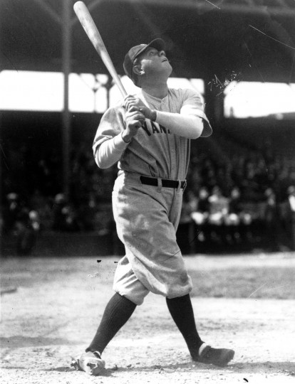 1931: Babe Ruth during an exhibition game at Oriole Park. (Baltimore Sun)