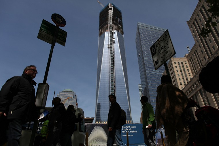One World Trade Center building, which is under construction on the site of the destroyed original World Trade Center, is seen in New York City. With its unfinished frame the building stands at a little more than 1,250 feet high. (Spencer Platt/Getty Images)