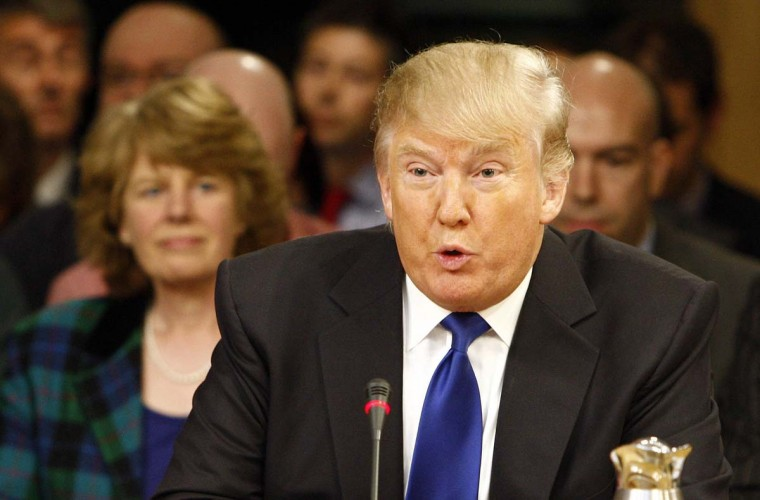 Donald Trump, Chairman and Chief Executive Officer of The Trump Organization, speaks to the Economy, Energy, and Tourism Committee about the Scottish Government's renewable energy targets. (Andrew Cowan/Scottish Parliament via Getty Images)