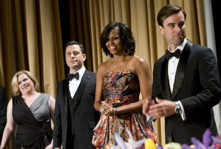First lady Michelle Obama arrives to the 2012 White House Correspondents' Association Dinner held at the Washington Hilton on April 28, 2012 in Washington, DC. (Kristoffer Tripplaar/Sipa Press via Getty Images)