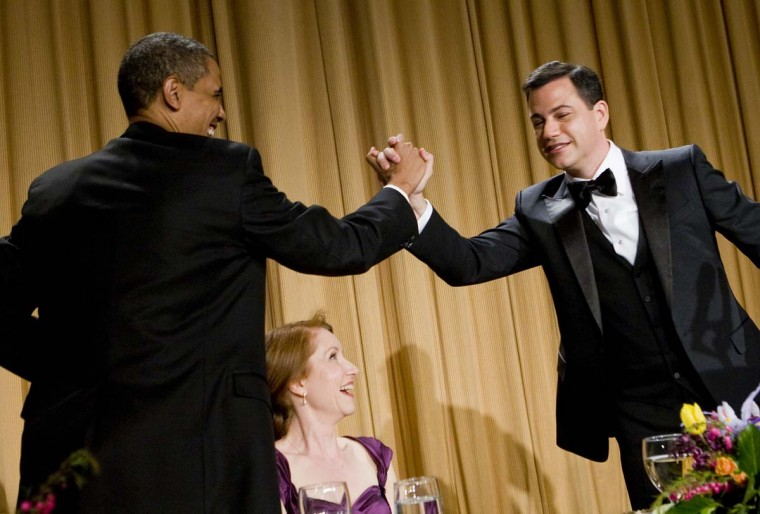 U.S. President Barack Obama gives a high-five to Jimmy Kimmel at the 2012 White House Correspondents' Association Dinner held at the Washington Hilton on April 28, 2012 in Washington, DC. (Kristoffer Tripplaar-Pool/Getty Images)