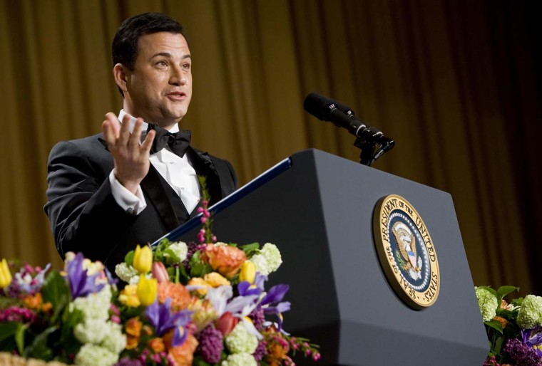 Comedian Jimmy Kimmel delivers remarks at the 2012 White House Correspondents' Association Dinner held at the Washington Hilton on April 28, 2012 in Washington, DC. This was the 98th annual dinner and was hosted by Jimmy Kimmel. (Kristoffer Tripplaar-Pool/Getty Images)