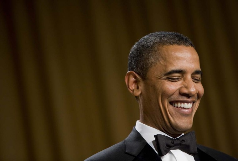 U.S. President Barack Obama smiles while delivering remarks at the 2012 White House Correspondents' Association Dinner held at the Washington Hilton on April 28, 2012 in Washington, DC. (Kristoffer Tripplaar-Pool/Getty Images)