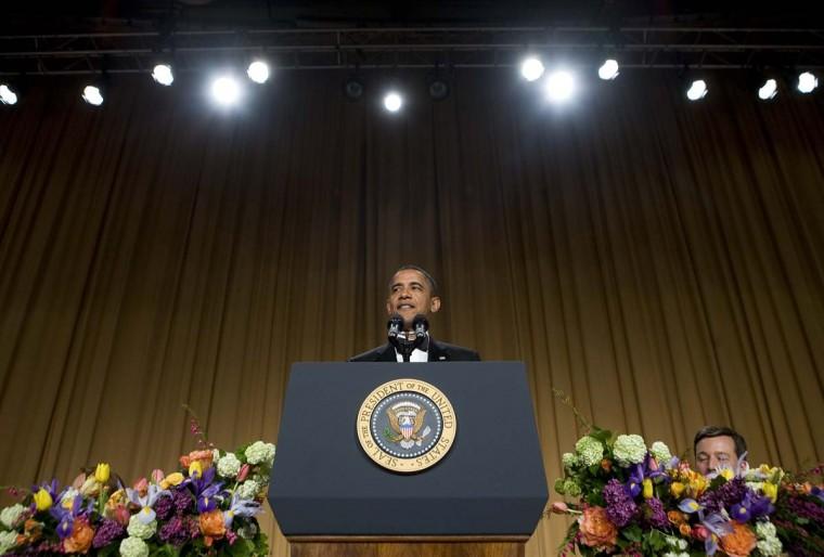 U.S. President Barack Obama delivers remarks at the 2012 White House Correspondents' Association Dinner held at the Washington Hilton on April 28, 2012 in Washington, DC. (Kristoffer Tripplaar-Pool/Getty Images)