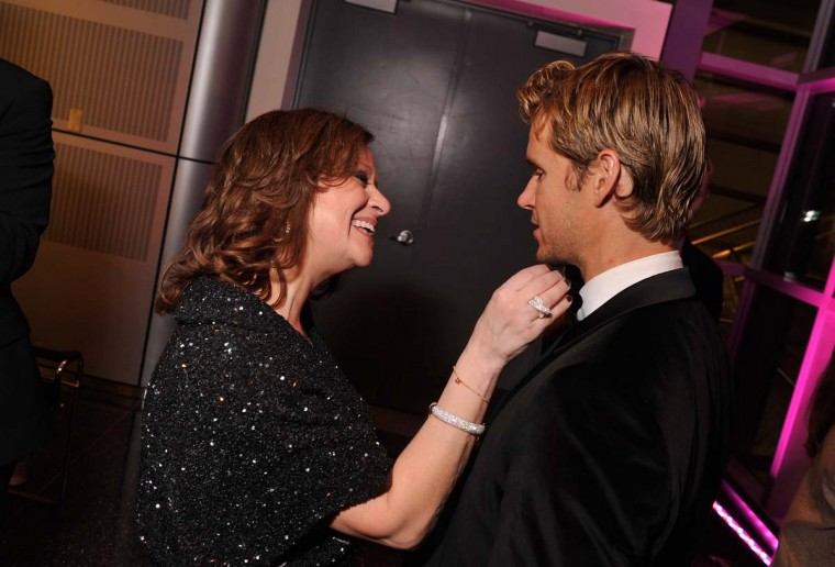 """Caroline Manzo from the """"Real Housewives of New Jersey"""" greets actor Ryan Kwanten as they attend the Capitol File's 7th Annual White House Correspondents' Association Dinner. (Stephen Lovekin/Getty Images)"""