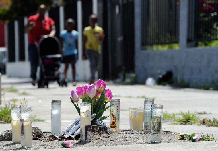 April 29, 2012: A makeshift memorial is set up on a sidewalk where a traffic accident killed three women two months ago in South Los Angeles. (Kevork Djansezian/Getty Images)