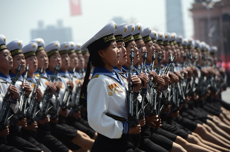 April 15: Female members of North Korea's military march during a parade to mark 100 years since the birth of the country's founder Kim Il-Sung in Pyongyang. (Pedro Ugarte/AFP/Getty Images)