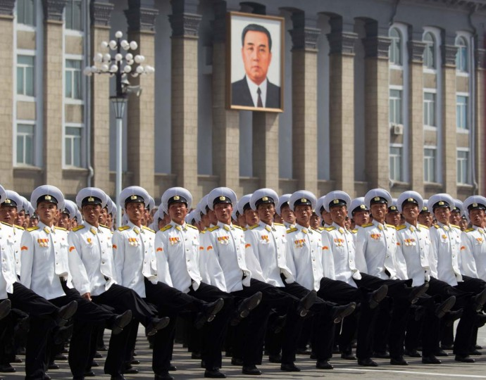 Members of North Korea's military march during a military parade to mark 100 years since the birth of the country's founder Kim Il-Sung in Pyongyang on April 15. (Ed Jones/AFP/Getty Images)