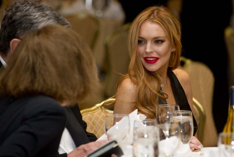 Actress Lindsay Lohan attends the White House Correspondents Association Dinner on April 28, 2012 in Washington DC. (Saul Loeb/AFP/Getty Images)