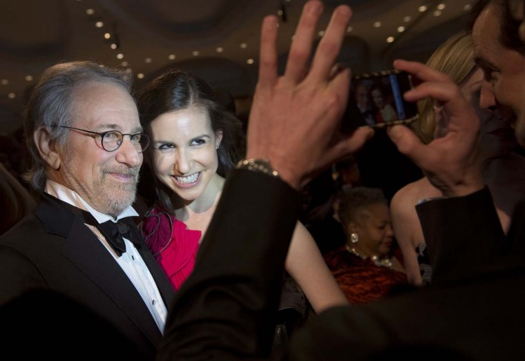 Director Steven Spielberg poses for photos during the White House Correspondents Association Dinner. (Saul Loeb/AFP/Getty Images)