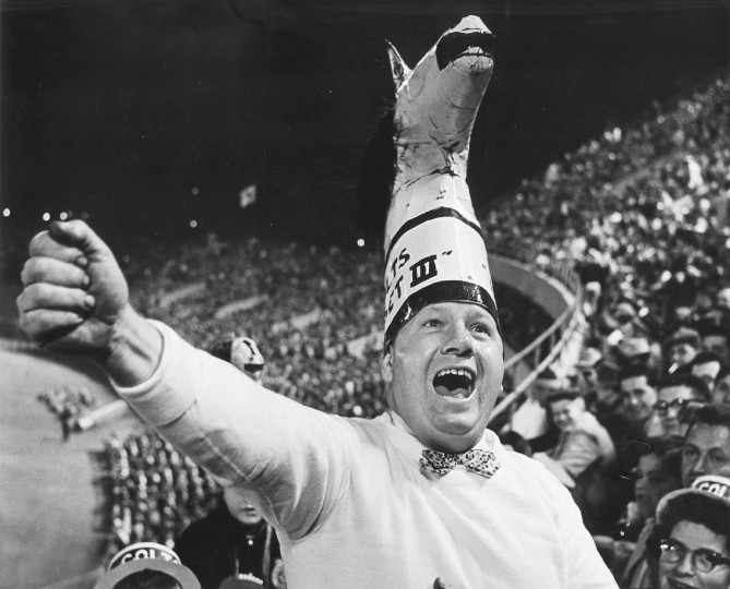 Willie the Rooter cheers during a Baltimore Colts football game in November 1957. (Richard Stacks/Baltimore Sun)