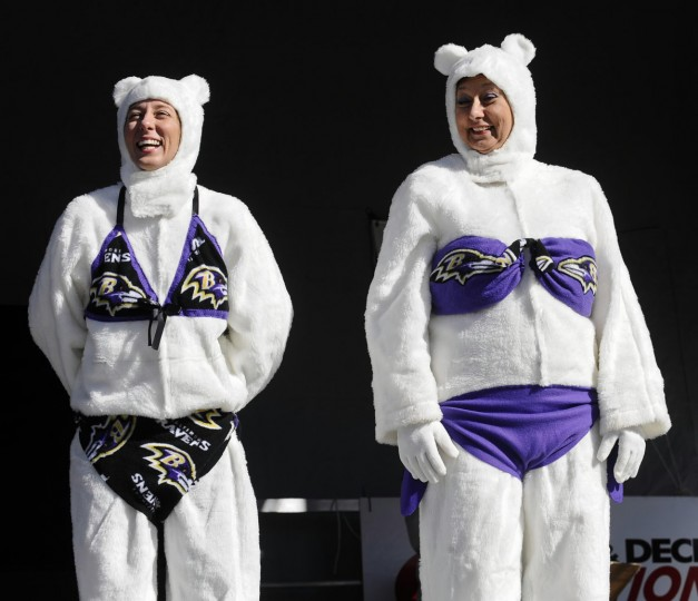 Jan. 30: Monique Cartier, left, and mother Shirley, of Bel Air, dressed as Bi-polar bears for the costume contest before the one o'clock plunge into the Chesapeake Bay during the 16th annual Maryland State Police Polar Bear plunge at Sandy Point State Park. The event has raised an estimated $19 million for Special Olympics Maryland over the past 15 years. (Kenneth K. Lam/Baltimore Sun)