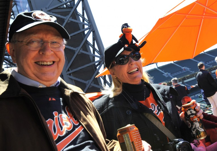Otis Scott and his wife, Kathy Scott of Fort Myers, Florida prior to game time at the 20th anniversary of Oriole Park at Camden Yards. (Lloyd Fox/Baltimore Sun)
