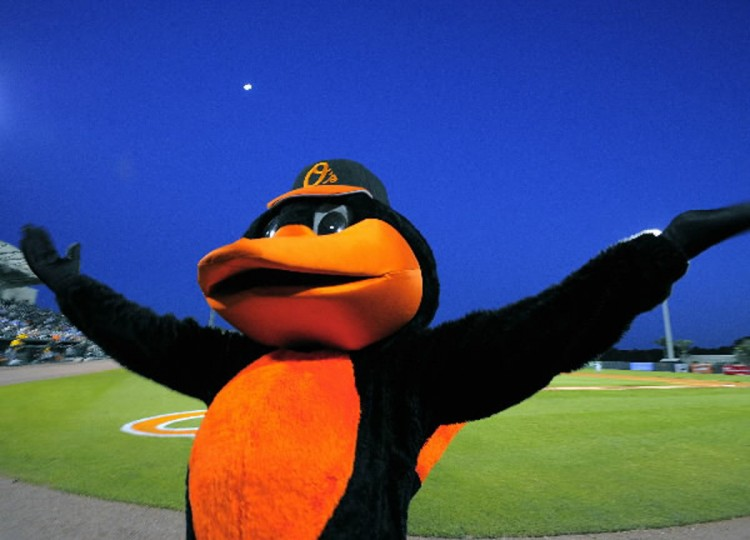 Mar. 6: The Oriole Bird acknowledges fans beneath the rising moon as dusk settles before the game between the Baltimore Orioles and Pittsburgh Pirates in the first game of the Grapefruit League season at Ed Smith Stadium. (Karl Merton Ferron/Baltimore Sun)