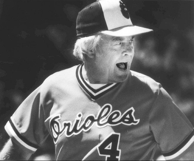 Earl Weaver: Baseball manager. Weaver's entire major league managerial career was with the Baltimore Orioles. He led the team from 1968 to1982 and again from 1985 to1986. Weaver finished with a 1480-1060 managerial record and was inducted into the Hall of Fame in 1996. (Jed Kirschbaum/Baltimore Sun)