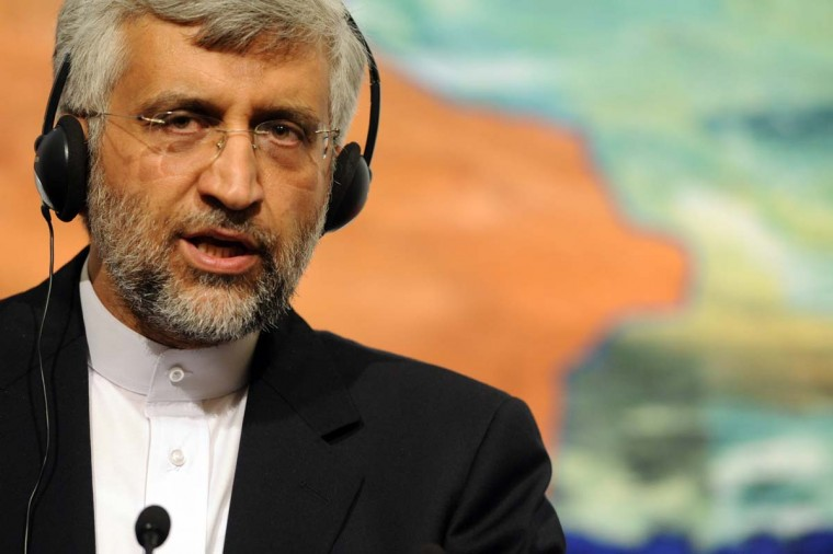 Iran's chief nuclear negotiator Said Jalili reacts during a news conference on April 14, 2012 as Iran and six world powers open talks on Tehran's disputed nuclear program in Istanbul. (Bulent Kilic/AFP/Getty Images)