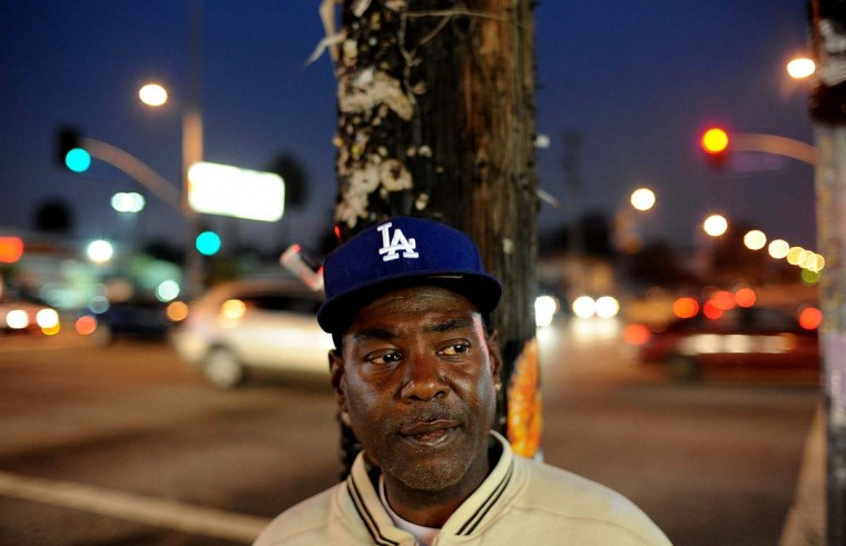 April 5, 2012: Todd Sellers stands at the intersection of Florence and Normandie Avenues, where he watched the riots 20 years ago in South Los Angeles, California. (Wally Skalij/Los Angeles Times/MCT)