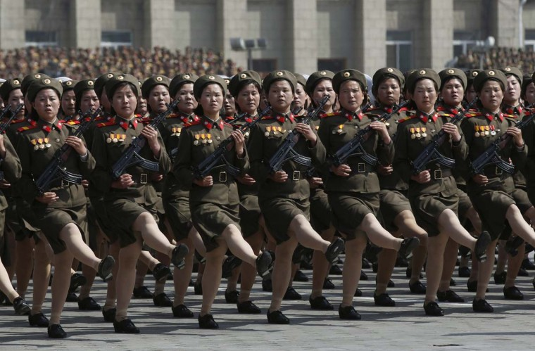 April 15: Soldiers march past the podium during a military parade to celebrate the centenary of the birth of North Korea's founder Kim Il-sung in Pyongyang. (Bobby Yip/Reuters)