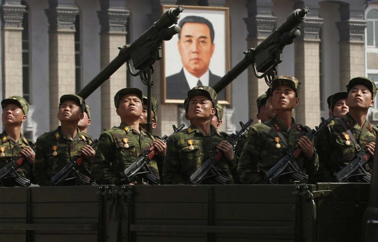 April 15: Soldiers on a military truck take part in a military parade to celebrate the centenary of the birth of North Korea's founder Kim Il-sung in Pyongyang. (Bobby Yip/Reuters)