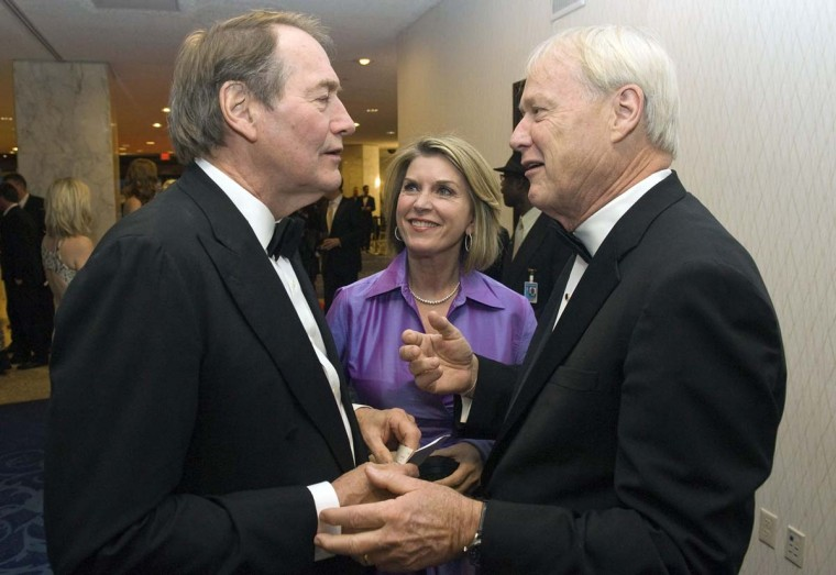 Journalist Charlie Rose greets Chris Matthews (R) and his wife Kathleen Matthews as they arrive for the annual White House Correspondents' Association Dinner at the Washington Hilton. (Jonathan Ernst/Reuters)