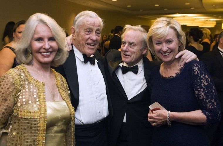 Writer Sally Quinn, her husband, former Executive Editor of the Washington Post Ben Bradlee, former editor of the Sunday Times Harold Evans and his wife, Daily Beast and Newsweek Editor-in-Chief Tina Brown, attend the annual White House Correspondents' Association Dinner at the Washington Hilton. (Jonathan Ernst/Reuters)