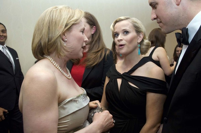 U.S. Senator Kirsten Gillibrand (D-NY) talks with actresss Reese Witherspoon at the annual White House Correspondents' Association Dinner. (Jonathan Ernst/Reuters)
