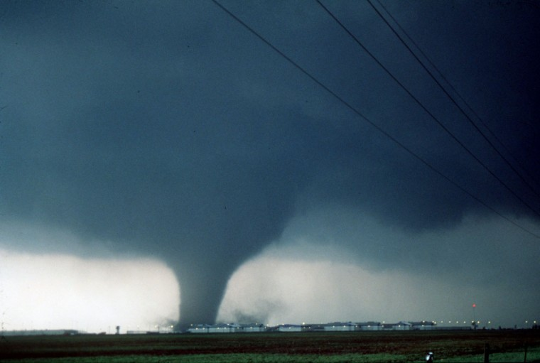 A large violent tornado with winds of 3000mph narrowly misses the Jordan Unit Prison near Hoover, TX on June 8,1995. (Martin Lisius)