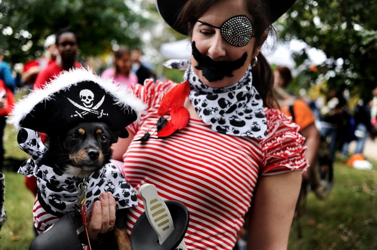 Rosie and owner get prepare to take stage for the costume contest during the Seventh Annual BARCStoberfest Fundraiser at Patterson Park in Baltimore, Md., Saturday October 22, 2011. (Patrick Smith/Baltimore Sun)