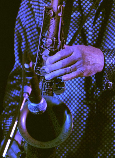 Terry Hanck blows the alto sax while performing for the Baltimore Blues Society At the Rosedale American Legion Hall. After his performance Terry signed copies of his CDs. (Robert K. Hamilton/Baltimore)