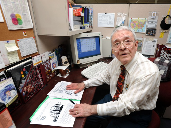 "March 17, 2011: Vadym Buyalsky, Ph.D., R&D, Senior Scientist with CTRL Systems, Inc., who worked at Chernobyl, gave insight as to what's going on at the Fukushima Daiichi Nuclear Power Plant. On the desk under his left hand is a schematic of the Chernobyl nuclear reactor. He received a medal with the inscription that translates to: ""To the participant of the elimination of the consequences of the accident at Chernobyl Nuclear Plant."" (Algerina Perna/Baltimore Sun)"