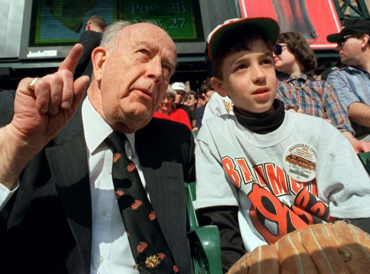 1992: Orioles Opening Day at Camden Yards. Ben Harrington,10 of Annapolis and Governor Schaefer enjoy opening day. Ben got two tickets from the Governor. (Kenneth K. Lam/Baltimore Sun) BUY THIS PHOTO
