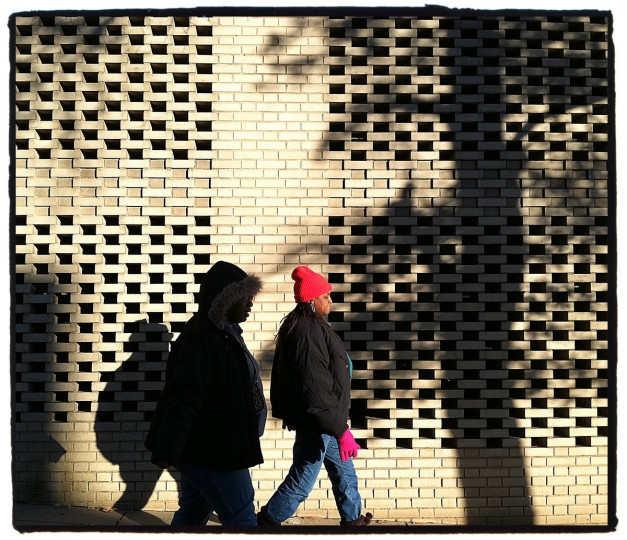 I was amazed at how the shadows were playing with the brick pattern on this wall. All ll I needed to do was wait for a person to walk through and the image would come toghether. (Robert K. Hamilton/Baltimore Sun)