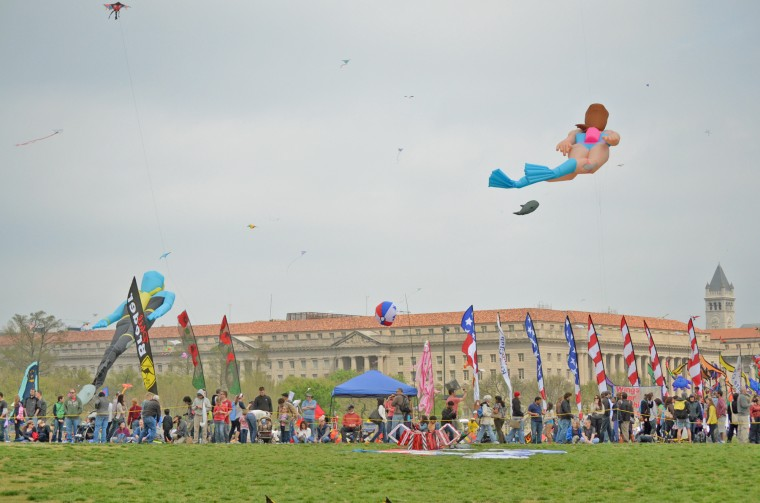 Two giant kites that look like scuba divers gracefully hang in the sky above the Blossom Kite Festival on the National Mall. Each has a small fish kite attached to it to further give the appearance that they are swimming. (Jon Sham/Patuxent Homestead)