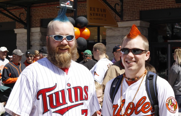 Brady Hedstrom, left, and his brother Kirby Hedsrtom prior to game time. This is their first opening day game. They are from Baltimore. (James Gordon/Baltimore Sun)
