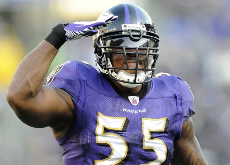 Feb. 10: Ravens linebacker Terrell Suggs (55) salutes the crowd after a sack. Baltimore Ravens beat the Indianapolis Colts 24-10 at M&T Bank Stadium. (Christopher T. Assaf/Baltimore Sun, photo taken December 11, 2011 )