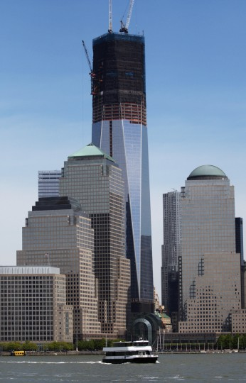 Construction continues on the One World Trade Center, after workers moved a steel column into place. (Mario Tama/Getty Images)