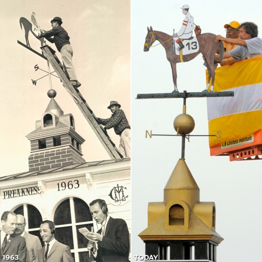 THE WINNER'S COLORS: LEFT - Painting the winner's colors in 1963. (Baltimore Sun) *** RIGHT - Painting of the cupola in the colors of Rachel Alexandra (#13) following her victory at the 134th Preakness Stakes. (Karl Merton Ferron/Baltimore Sun)